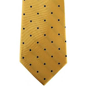 David Van Hagen Polka Dot Tie - Gold/Navy