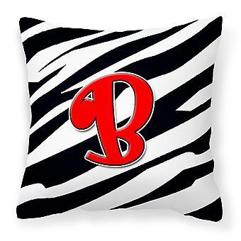 Monogram Initial B Zebra Red Decorative   Canvas Fabric Pillow CJ1024