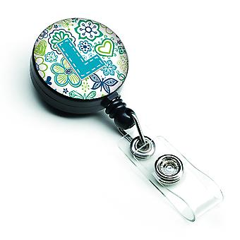 Letter L Flowers and Butterflies Teal Blue Retractable Badge Reel