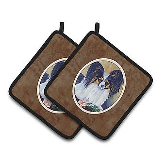Carolines Treasures  7037PTHD Papillon A Rose for you Pair of Pot Holders