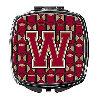 Letter W Football Garnet and Gold Compact Mirror