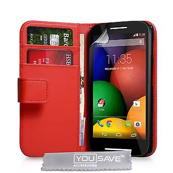 Yousave Accessories Motorola Moto E Leather-Effect Wallet Case - Red