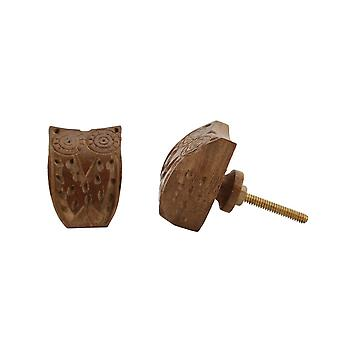 CGB Giftware Carved Dark Wood Owl Drawer Handle