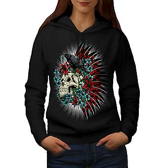 Skull Raven Death Fantasy Women BlackHoodie | Wellcoda