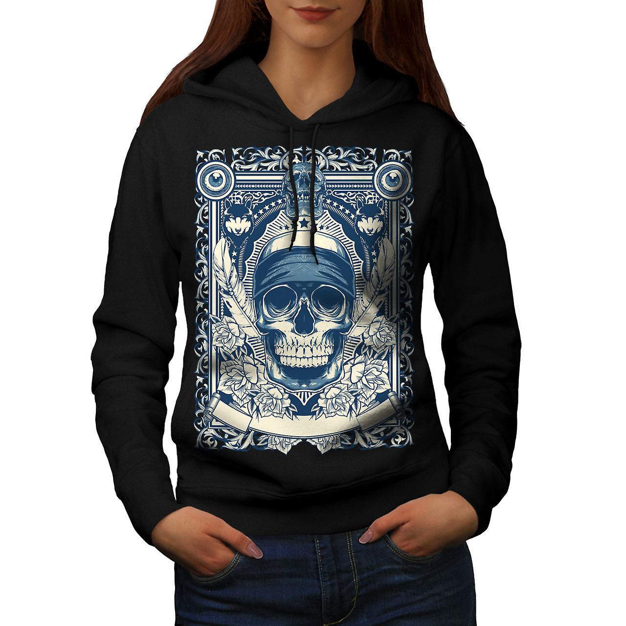Day Dead Feather Skull Women Black Hoodie | Wellcoda