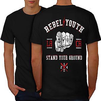 Rebel Youth Fist Men BlackT-shirt Back | Wellcoda