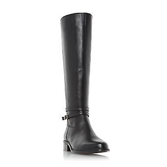 Dune Mesdames TARO boucle et matériel en détail Knee High Riding Boot en noir