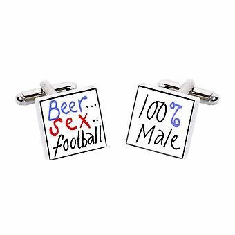 Sonia Spencer Beer, Sex, Football… 100% Male Cufflinks - English Bone China Hand Crafted Cuff Links