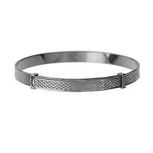 Silver 45mm diameter expanding baby Bangle with engine turned pattern