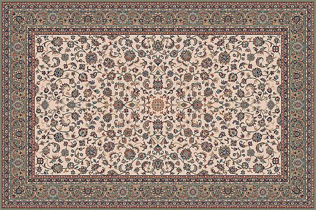 Farsistan Green 5604-679 licht beige grond met mid groene rand rechthoek tapijten traditionele tapijten