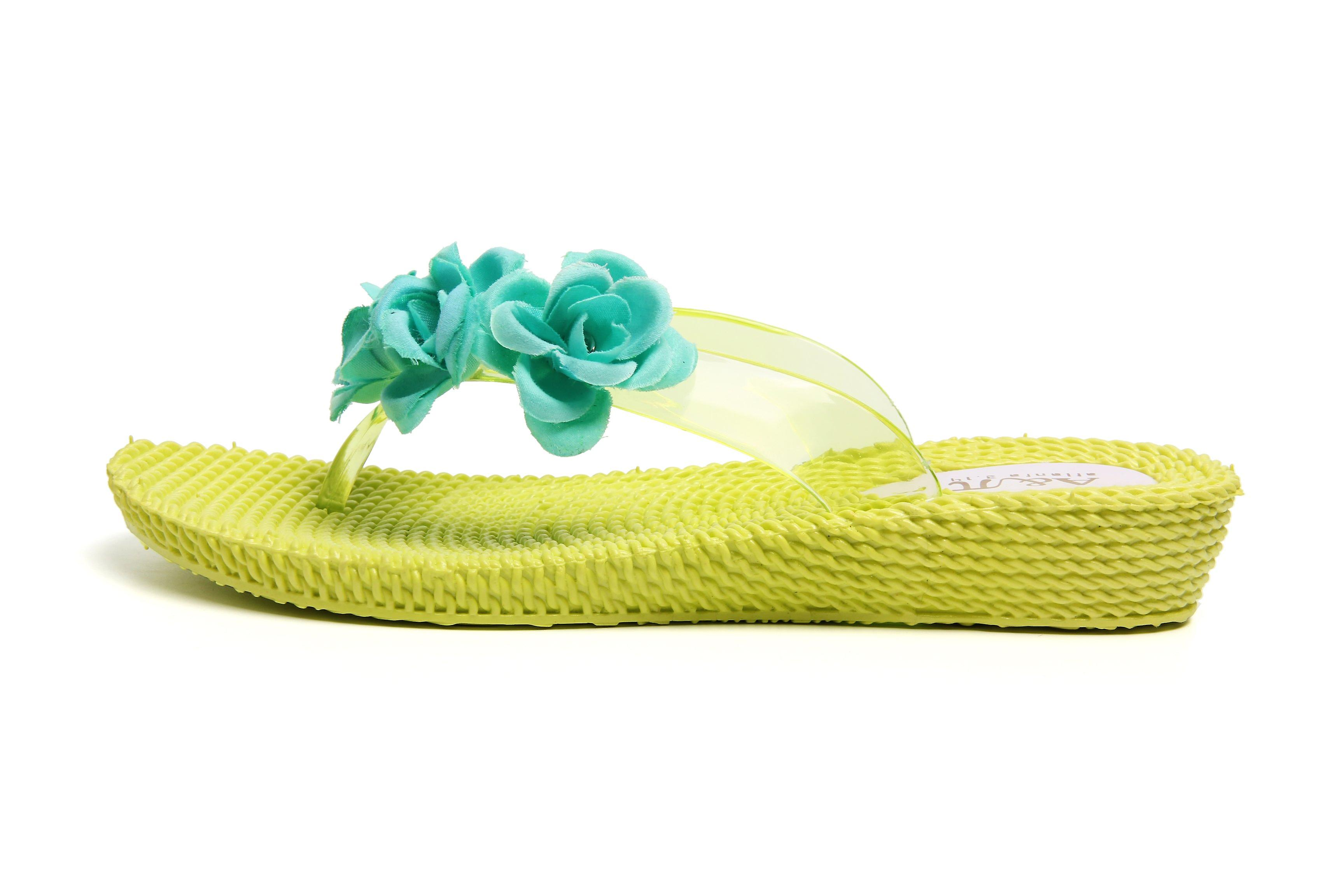 Atlantis Shoes Women Supportive Cushioned Comfortable Sandals Flip Flops Three Flowers Yellow-aquagreen