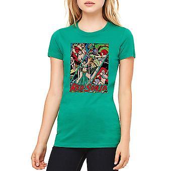 Red Sonja Battle paneler Junior kvinders Kelly Grøn T-shirt
