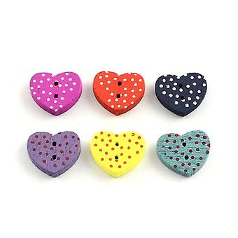 Packet 20 x Mixed Wood 15mm Heart 2-Holed Sew On Buttons Y09175