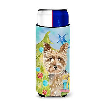Christmas Tree Yorkie Yorkshire Terrier Michelob Ultra Hugger for slim cans