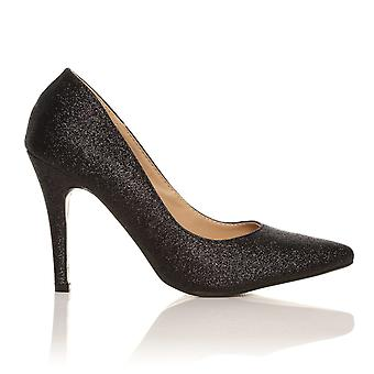 DARCY Black Glitter Stilleto High Heel Pointed Court Shoes