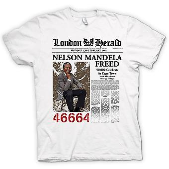 Mens T-shirt - Nelson Mandela Freed 46664 - ANC - Freedom