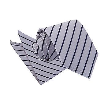 Silber & Marine einzigen Streifen Krawatte und Einstecktuch Satz