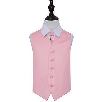 Baby Pink Plain Satin Hochzeit Weste & Krawatte Set für jungen