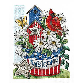 Patriotic Welcome Counted Cross Stitch Kit-7.5