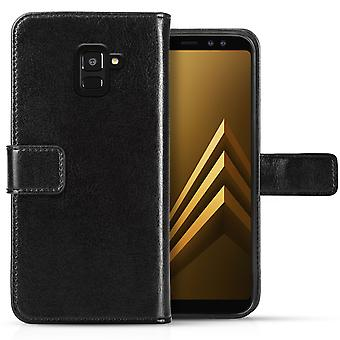 Samsung Galaxy A8 Plus (2018) Real Leather ID Wallet - Black