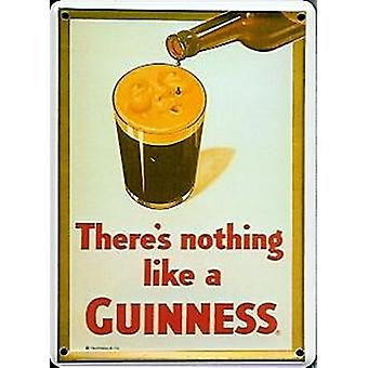 Guinness Face On Glass Metal Postcard / Mini Sign