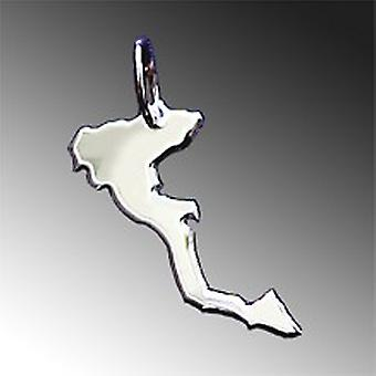 Trailer map Corfu pendant in solid 925 Silver