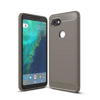 Google pixel XL 2 TPU case carbon fiber optics brushed protection cover grey