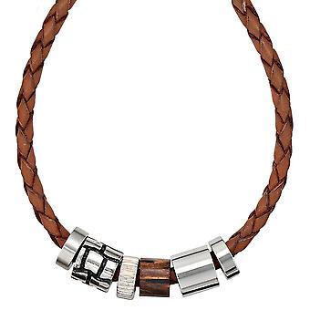 Naszyjnik skórzany naszyjnik skórzany łańcucha naszyjnik z zawieszki drewniane element 45 cm