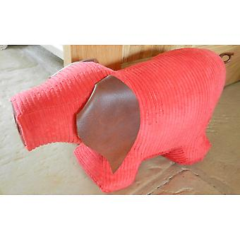 Red Jumbo Cord Pig Doorstop by Monica Richards