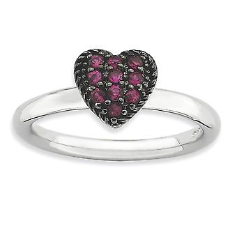 2.25mm 925 Sterling Silver Polished Prong set Black rhodium Rhodium-plated Stackable Expressions Cr Ruby Heart Ring - Ri