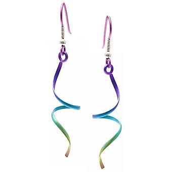 TI2 Titanium Wirework einzigen Drehbewegung Ohrringe - Regenbogen