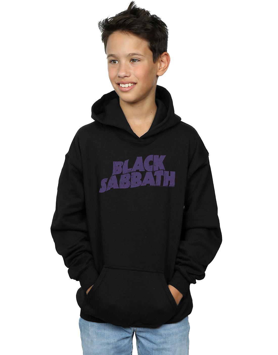 noir Sabbath garçons Distressed Logo Hoodie
