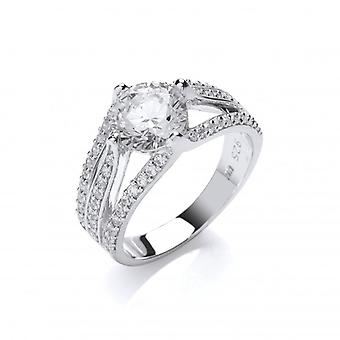 Cavendish francés plata y Cubic Zirconia anillo de Elizabeth