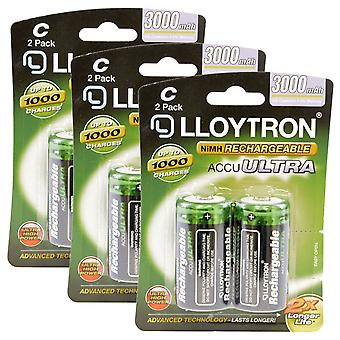 6 x Lloytron Rechargeable AccuUltra C Ni-MH Batteries 3000mAh