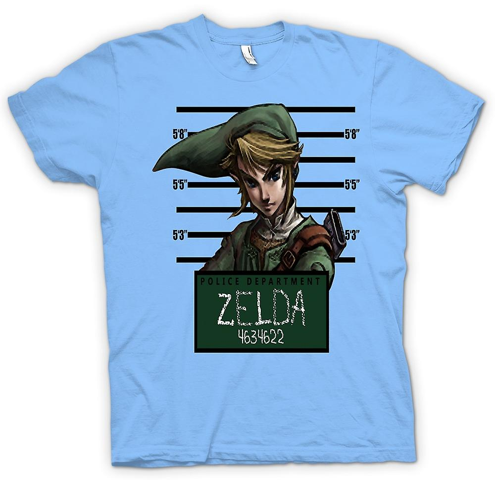 Mens T-shirt - Zelda - Mug Shot - Funny