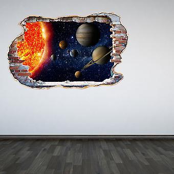 Полный цвет солнечной системы разбитые стены 3D эффект стикер стены