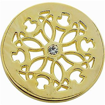 TOC Goldtone Rhinestone Flower Coin for Interchangeable Locket Pendant FJ1602