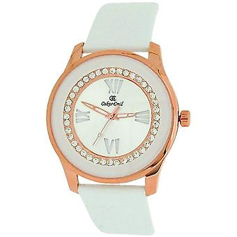 Oskar Emil Women Gold Plated Stone Silver Dial White Genuine Leather Strap Watch