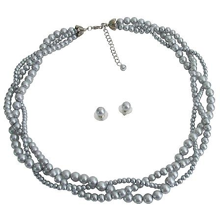 Gray Pearls Wedding Jewelry Different Pearl Sizes Twisted Three Stands