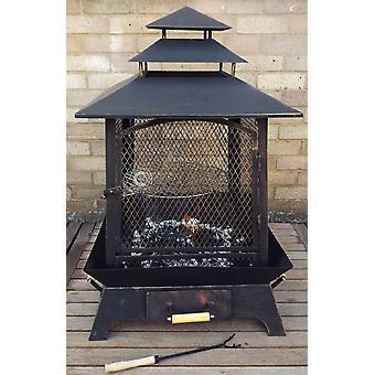 CASTMASTER Aztec X Large Square Fire Pit Basket Chiminea, Brazier, Patio Heater, BBQ