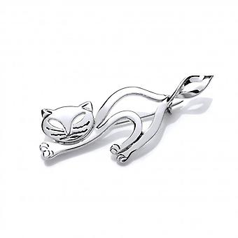 Cavendish French Silver Lazy Cat Brooch