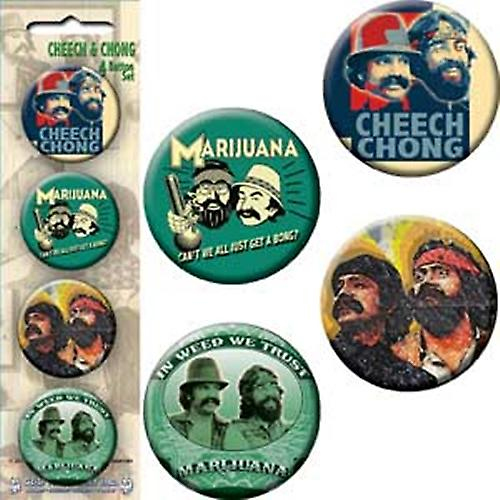 Cheech and Chong strip of 4 round Pin Badges (c&d)