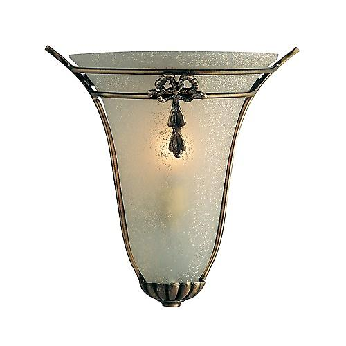 Searchlight 30002 Traditional Wall Washer Light In Antique Brass With Scavo Glass