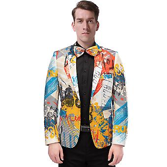 Allthemen Men's Blazer Colorful Digital Stage Dress Party Suit Jacket