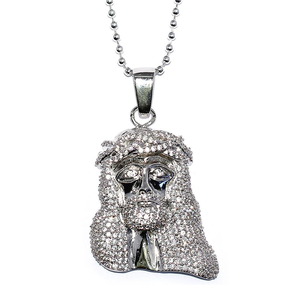 Silver Plated CZ Mini Jesus Piece Pendant 1.5 inch with 30 inch Ball Chain