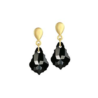 Eternal Collection Baroque Jet Black Austrian Crystal Gold Tone Drop Clip On Earrings