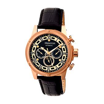 Heritor Automatic Kinser Leather-Band Watch w/Day/Date - Rose Gold/Black