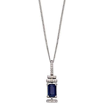 Elements Gold Sapphire and Diamond Deco Pendant - Blue/Silver