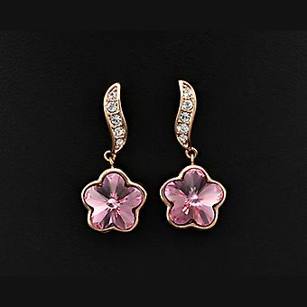 18K Rose Gold Plated Pink Stellux Austrian Crystals Flower Dangle Earrings, 2.5cm