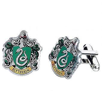 Harry Potter sølv forgyldt manchetknapper Slytherin